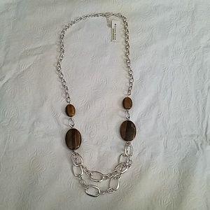 Etienne Aigner Semi-Precious Silver Necklace NEW